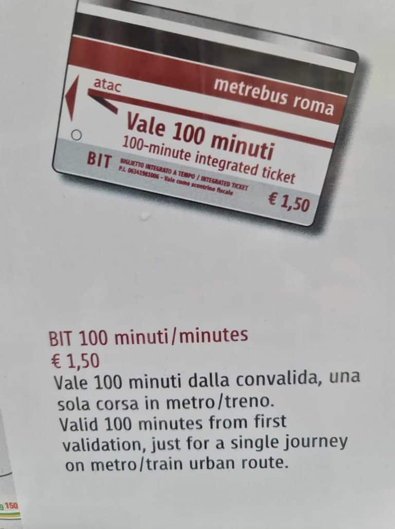 כרטיס הנסיעה המשולב לתחבורה הציבורית ברומא התקף ל 100 דקות בלבד