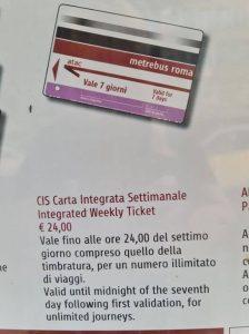 הכרטיס המשולב לתחבורה הציבורית ברומא *לשבוע ימים*