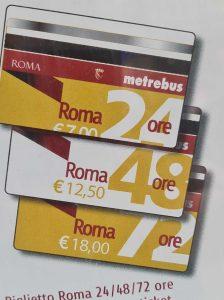 כרטיסים המשולבים לתחבורה הציבורית ברומא